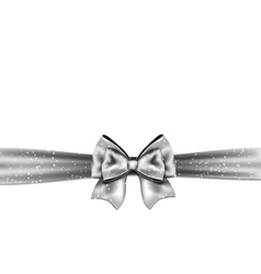 Silver bow on white background vector image vector image