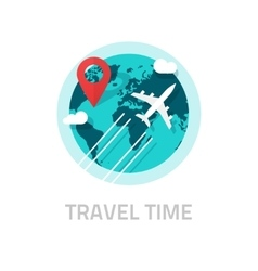 Travelling around world by plane travel vector image