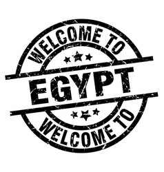 welcome to egypt black stamp vector image vector image