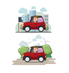woman driver red car city eco vector image vector image