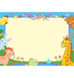 banner animals kindergarten funny flowers poster vector image