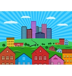 Big city and suburbs vector