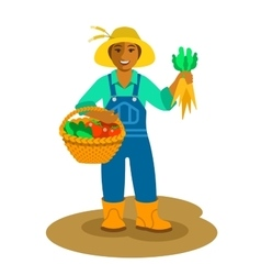 Black farmer woman stands with vegetables harvest vector image