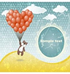 Cute teddy bear with a balloon vector image