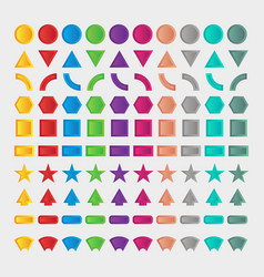100 set shape in 3d style vector image