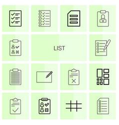 14 list icons vector