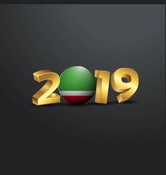 2019 golden typography with chechen republic flag vector