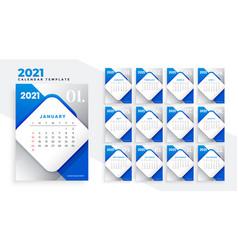Abstract blue 2021 new year calendar design vector