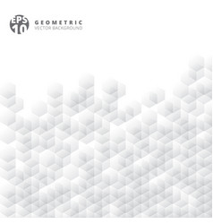abstract geometric hexagon white and gray grid vector image