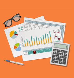 accounting paper documents with financial charts vector image