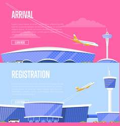 Airplane arrival and airport registration flyers vector