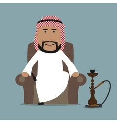 Arabian businessman relaxing with hookah vector