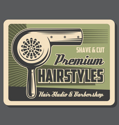 Barbershop service hairstyles shave and cut vector