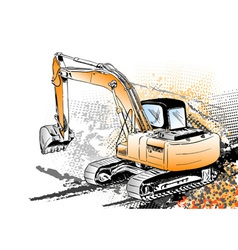 big excavator on the background vector image