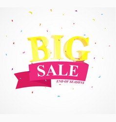 big sale banner with confetti vector image
