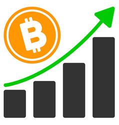 Bitcoin growth trend flat icon vector