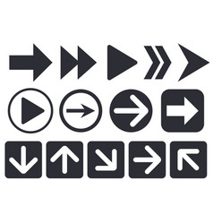 black arrow icons web flat signs vector image
