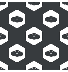 Black hexagon cloud upload pattern vector