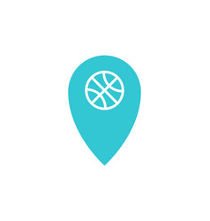 blue location with basketball ball inside icon vector image