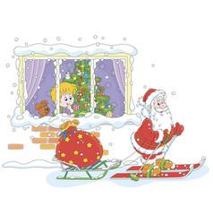 Boy looking at santa claus skiing with gifts vector