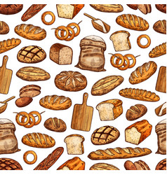 bread loaf bun and baguette seamless pattern vector image