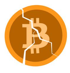 broken coin with a bitcoin sign vector image