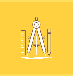 build design geometry math tool flat line filled vector image