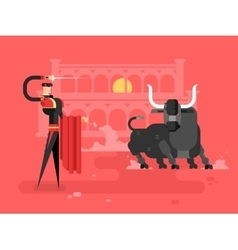 Bullfighting charcter man vector
