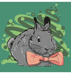 Bunny with a pink bow vector