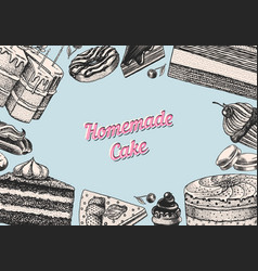 cake banner or poster hand drawn bakery product vector image