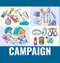 Campaign concept banner cartoon style vector