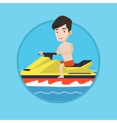 Caucasian man training on jet ski in the sea vector