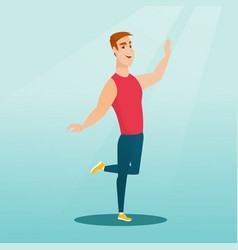 Cheerful caucasian man dancer dancing vector