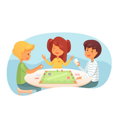 Children playing board game vector