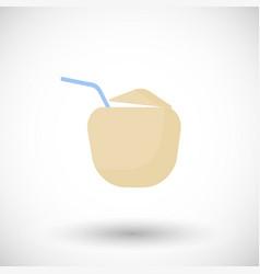 coconut drink flat icon vector image