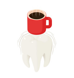Coffee on tooth icon isometric style vector