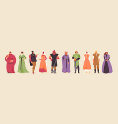 Collection medieval people vector
