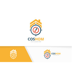 Compass and real estate logo combination vector