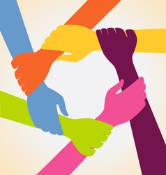 Creative Colorful Ring of Many Hands Team vector