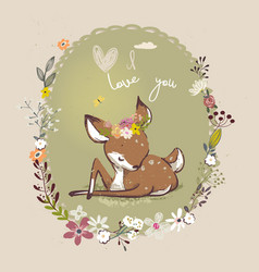 Cute little deer with floral wreath vector