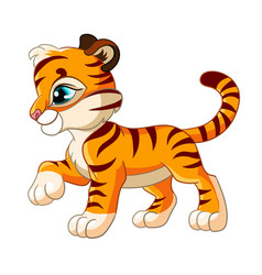 Cute little tiger in profile cartoon character vector