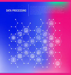 data processing concept in honeycombs vector image