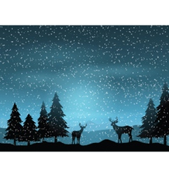 Deer in winter landscape 1511 vector