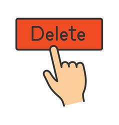 delete button click color icon vector image