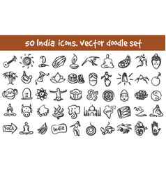 Doodle india icons set vector