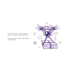 Extra work overloading worker template web banner vector