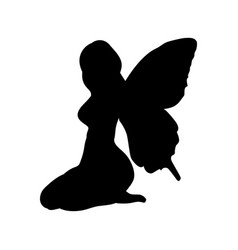 Fairy silhouette fairytale fantasy magical vector