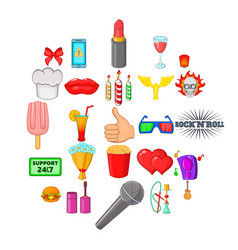 Fare icons set cartoon style vector