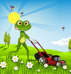 Frog mows the lawn vector image