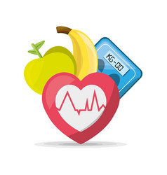 fruits heartbeat and weighing mashine vector image vector image